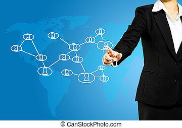 nätverk, affär, tränga, social, kvinnor, ikon