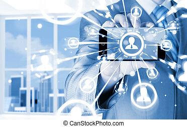 nätverk, affär, visa,  hand, ringa, holdingen,  social