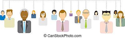 nätverk, affärsfolk, /, anslutningar, social