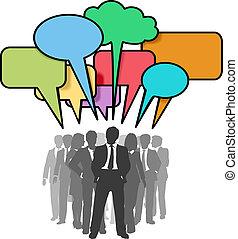 nätverk, affärsfolk, bubblar, färgrik, prata