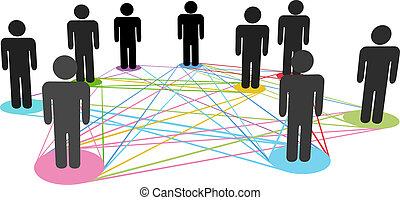 nätverk, affärsfolk, färg, anslutningar, social