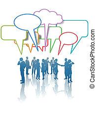nätverk, affärsfolk, kommunikation, färger, media, prata