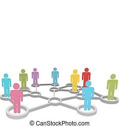 nätverk, affärsfolk, mångfaldig, koppla samman, social, ...