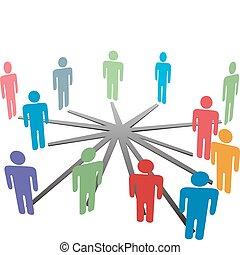 nätverk, affärsfolk, media, koppla samman, social, eller