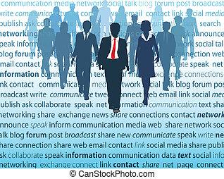 nätverk, affärsfolk, media, social, begreppen