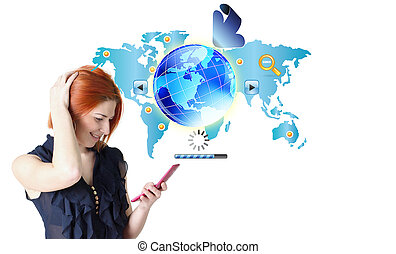 nätverk, connect., internet, mobil