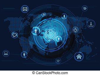 nätverk, dator, kommunikation