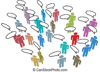 nätverk, färgrik, folk, media, anförande, social, möte