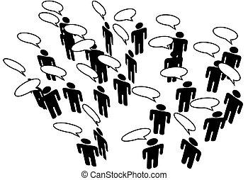 nätverk, folk, media, meddela, anförande, koppla samman, social