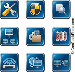 nätverk, ikon, dator, sätta