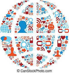 nätverk, ikonen, media, symbol, social, värld