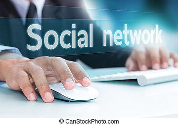 nätverk, laptop, maskinskrivning, hand, dator tangentbord, social