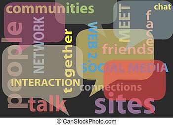 nätverk, media, ord, social, bubblar, prata