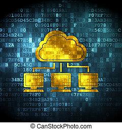 nätverk, moln, bakgrund, digital teknik, concept: