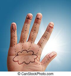 nätverk, moln, hand