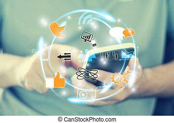 nätverk, social, begrepp, media
