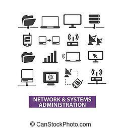 nätverk, &, system, förvaltning, ikonen, sätta, vektor