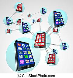nätverk, telefoner, spheres, kommunikation, anknutit, smart