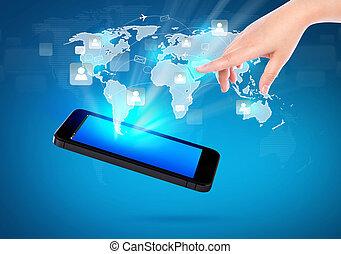 nätverk, visa, mobil, kommunikation, nymodig,  hand, ringa, holdingen,  social, teknologi