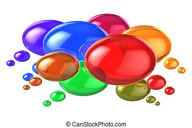 nätverksarbetande, färgrik, anförande, social, bubblar, concept: