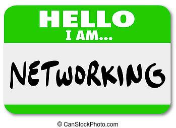 nätverksarbetande, folk, märke, nametag, anslutningar, tillverkning, möte