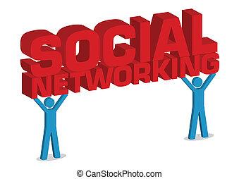 nätverksarbetande, illustration, vektor, mänsklig, social, 3, ikon