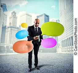 nätverksarbetande, meddelanden, sända