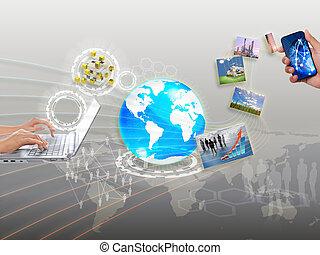 nätverksarbetande, synkronisering, dela, strömma, information, moln