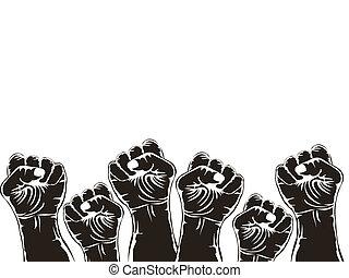 näve, för, revolution