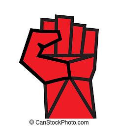 näve, röd, gripit hård om, hand, vector., seger, revoltera, concept., revolution, solidaritet, stansa, stark, strejk, ändring, illustration., lätt, till, ändring, color.