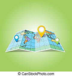nålen, karta, pekare, icons., värld