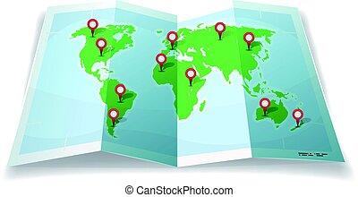 nålen, karta, resa, gps, värld