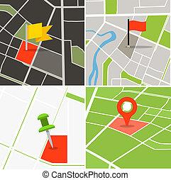 nålen, stad, abstrakt, kollektion, karta