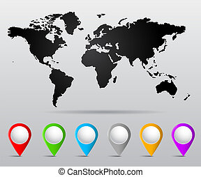 nålen, världen kartlägger