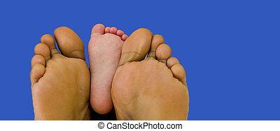né, pieds, leur, parents, enfant, nouveau