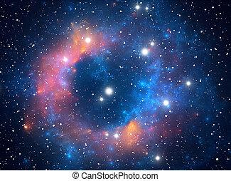 nébuleuse, étoile, coloré, espace