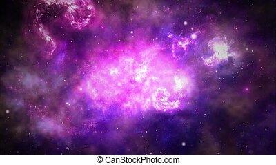 nébuleuse, animation, vol, 4k, champ, étoile, galaxy., ...