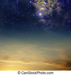 nébuleuse, cieux, nuages, étoiles, nuit