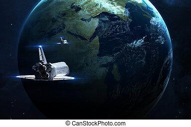 nébuleuse, -, image, incandescent, planète, scientifique, éléments, stars., fond, espace, ceci, meublé, nasa, résumé