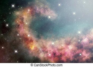 nébuleuse, profond, espace