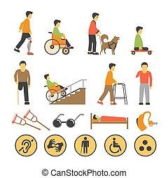nécessaire, gens, affiche, handicapé, equipments, signes