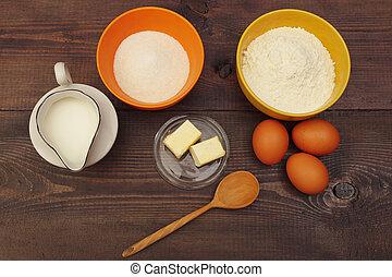 nécessaire, vue, confection, above., table., ingrédients, bois, pâte