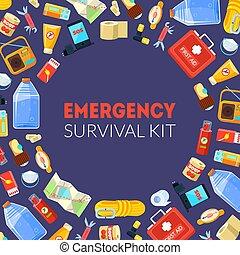 nécessités, urgence, modèle, survie, seamless, illustration, kit, vecteur, gabarit, bannière, voyage