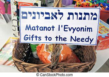 nécessiteux, dons, juif, purim, panier, vacances