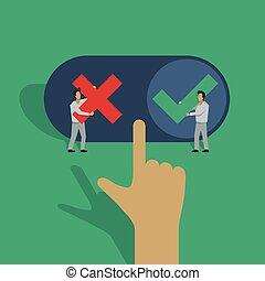 négatif, décision, ou, positif, choise