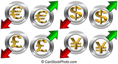 négatif, flèche, monnaie, positif