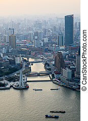 négligence, shanghai, à, crépuscule