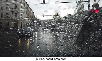 négligence, voitures, pluie, fenêtre, dépassement, gouttes, route