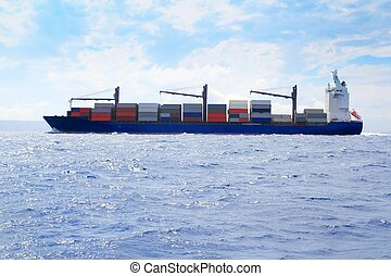 négociant, cargaison, voile, océan bleu, mer, bateau