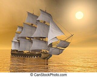 négociant, vieux, render, -, bateau, 3d